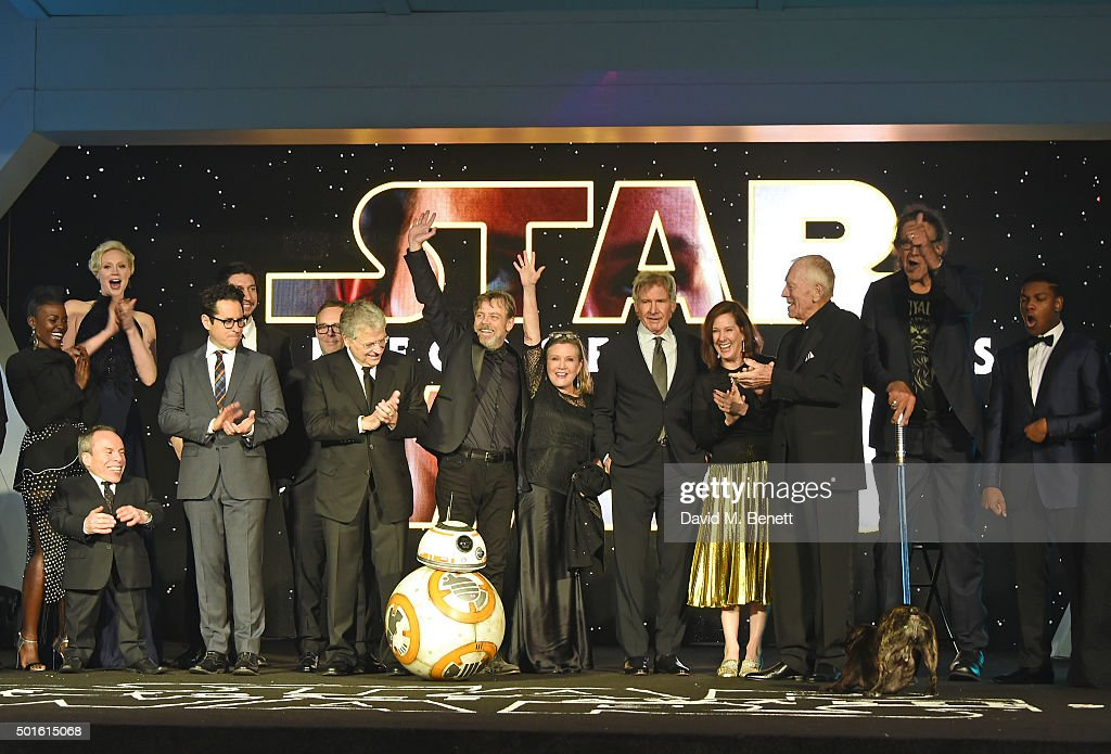 Cast and crew including Lupita Nyong'o, Warwick Davis, Gwendoline Christie, J.J. Abrams, Lawrence Kasdan, Mark Hamill, Carrie Fisher, Harrison Ford, Kathleen Kennedy, Max von Sydow, Peter Mayhew and John Boyega attend the European Premiere of 'Star Wars: The Force Awakens' in Leicester Square on December 16, 2015 in London, England.