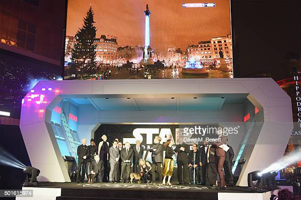 Cast and crew including Lupita Nyong'o Warwick Davis Gwendoline Christie JJ Abrams Lawrence Kasdan Mark Hamill Carrie Fisher Harrison Ford Kathleen...