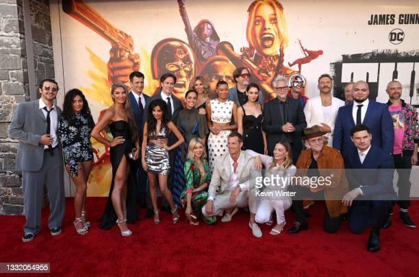 Cast and crew including Nathan Fillion, Storm Reid, Margot Robbie, John Cena, James Gunn, Michael Rooker, Jai Courtney, and Daniela Melchior attends...