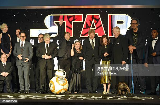 Cast and crew including Warwick Davis Gwendoline Christie JJ Abrams Lawrence Kasdan Mark Hamill Carrie Fisher Harrison Ford Kathleen Kennedy Max von...