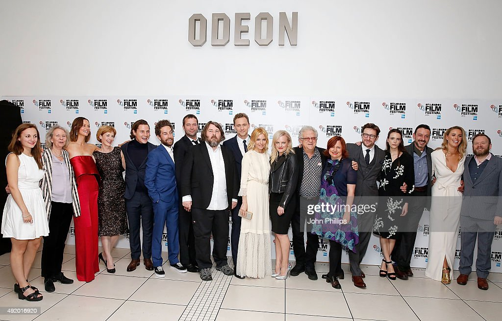 Cast and crew (L to R) Leila Mimmack, Eileen Davies, Sienna Guillory, Victoria Wicks, Augustus Prew, Dylan Edwards, James Purefoy, Ben Wheatley, Tom Hiddleston, Sienna Miller, Elisabeth Moss, Jeremy Thomas, Festival Director Clare Stewart, Peter Ferdinando, Stacy Martin, Enzo Cilenti, Alexandra Weaver and Toby Williams attend the High-Rise Screening, during the BFI London Film Festival, at Odeon Leicester Square on October 9, 2015 in London, England.