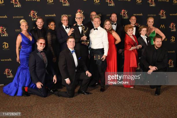 Cast and crew of After Forever pose with the Daytime Emmy Award for Outstanding Digital Daytime Drama Series in the press room during the 46th annual...