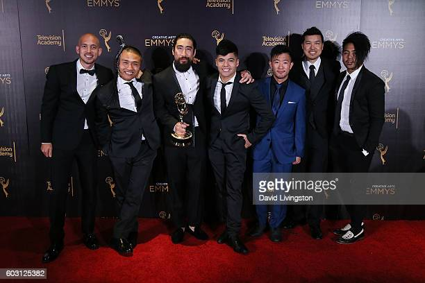 Cast and crew of America's Best Dance Crew, winner of Choreography, pose in the 2016 Creative Arts Emmy Awards Press Room Day 2 at the Microsoft...