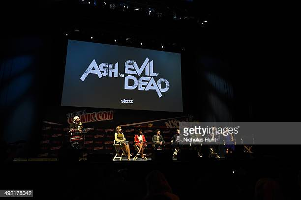 Cast and Crew of Ash vs the Evil Dead speaks onstage the STARZ' Ash vs Evil Dead Panel At Hammerstein Ballroom During New York Comic Con at...