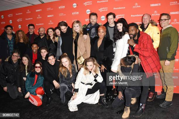 Cast and Crew of 'Assasination Nation' attend the 'Assassination Nation' Premiere during the 2018 Sundance Film Festival at Park City Library on...