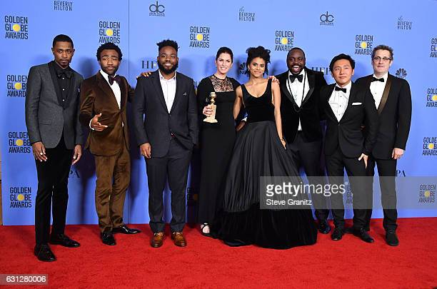 Cast and crew of 'Atlanta' winners of Best Musical or Comedy TV Series pose in the press room during the 74th Annual Golden Globe Awards at The...