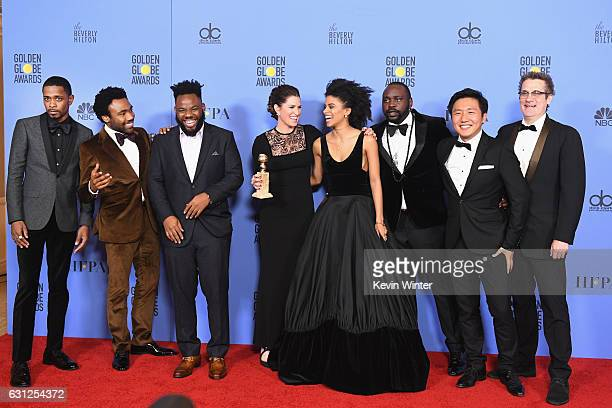 Cast and crew of 'Atlanta' winners of Best Series Musical or Comedy pose in the press room during the 74th Annual Golden Globe Awards at The Beverly...