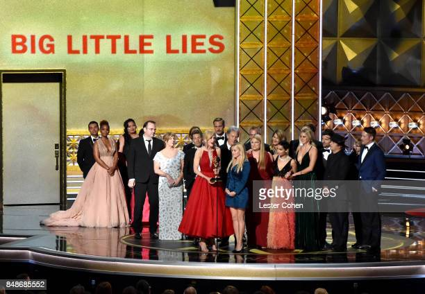 Cast and crew of 'Big Little Lies' accept the Outstanding Limited Series award onstage during the 69th Annual Primetime Emmy Awards at Microsoft...