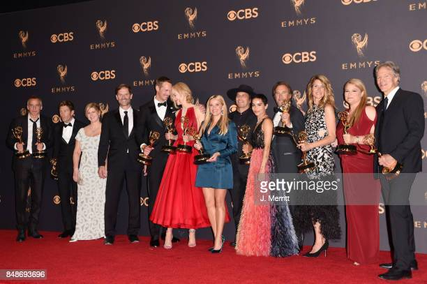 Cast and crew of 'Big Little Lies' winners of Outstanding Limited Series pose in the press room during the 69th Annual Primetime Emmy Awards at...