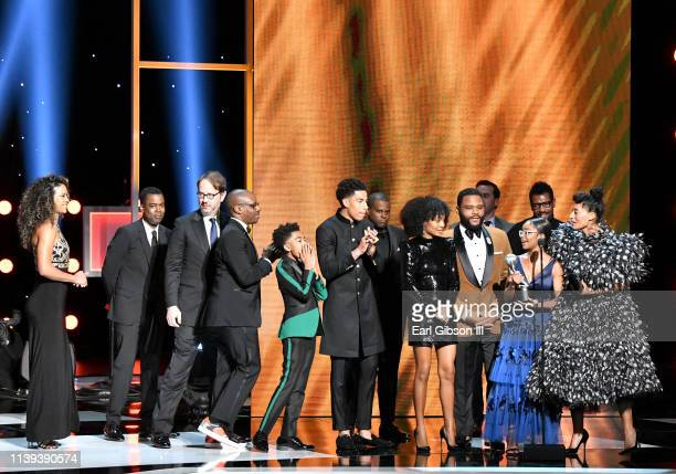 Cast and crew of Blackish accept the Outstanding Comedy Series award onstage at the 50th NAACP Image Awards at Dolby Theatre on March 30 2019 in...