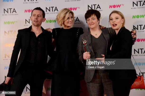 Cast and crew of 'Broadchurch' including Jodie Whittaker and Charlotte Beaumont winners of the Best Crime Drama award attend the National Television...