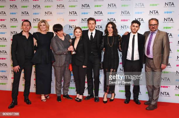 Cast and crew of 'Broadchurch' including Jodie Whittaker Arthur Darvill Dion Williams Charlie Higson and Charlotte Beaumont winners of the Best Crime...