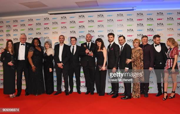 Cast and crew of 'Emmerdale' winners of the Best Serial Drama award pose in the press room at the National Television Awards 2018 at The O2 Arena on...