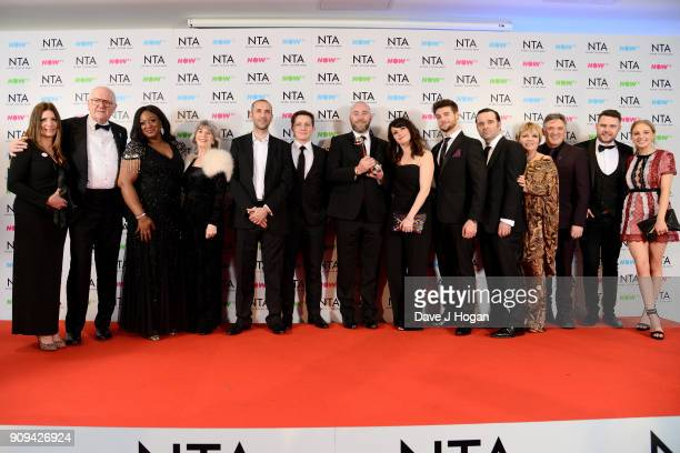 Cast and crew of 'Emmerdale' winners of the Best Serial Drama award attend the National Television Awards 2018 at The O2 Arena on January 23 2018 in...