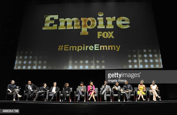 Cast and crew of Empire on stage at Fox's Empire ATAS Academy Event at The Theatre at The Ace Hotel on March 12 2015 in Los Angeles California