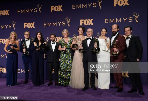 Cast and crew of 'Fleabag' pose with awards for Outstanding Comedy Series in the press room during the 71st Emmy Awards at Microsoft Theater on...