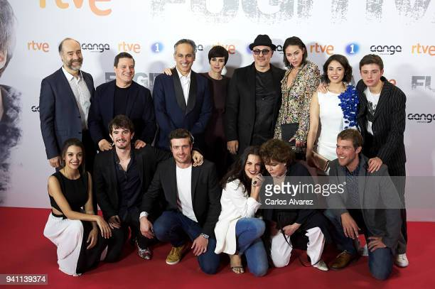 Cast and crew of 'Fugitiva' Tv Series at the Callao cinema on April 2 2018 in Madrid Spain