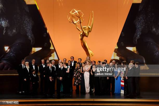 Cast and crew of 'Game of Thrones' accept the Outstanding Drama Series award onstage during the 71st Emmy Awards at Microsoft Theater on September 22...
