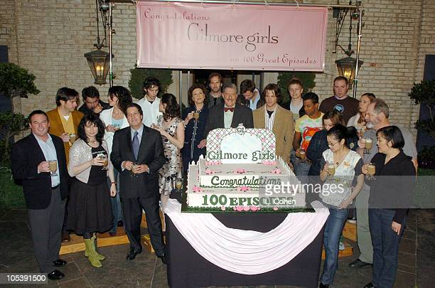Cast and crew of Gilmore Girls during Gilmore Girls 100th Episode Celebration at Warner Brothers in Los Angeles California United States