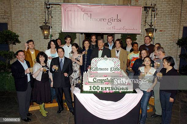 Cast and crew of 'Gilmore Girls' during 'Gilmore Girls' 100th Episode Celebration at Warner Brothers in Los Angeles California United States