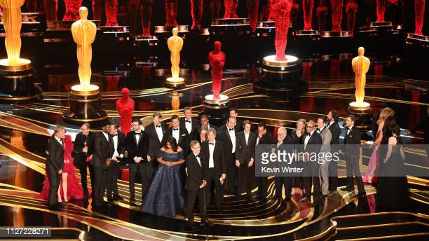 Retransmission with alternate crop Cast and crew of 'Green Book' accept the Best Picture award onstage during the 91st Annual Academy Awards at Dolby...