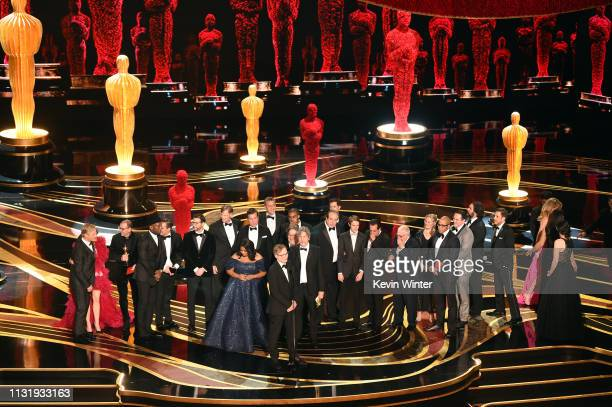 Cast and crew of 'Green Book' accept the Best Picture award onstage during the 91st Annual Academy Awards at Dolby Theatre on February 24, 2019 in...
