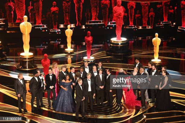 Cast and crew of 'Green Book' accept the Best Picture award onstage during the 91st Annual Academy Awards at Dolby Theatre on February 24 2019 in...