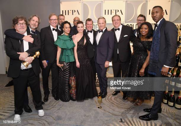 Cast and Crew of Green Book pose with award at Moet Chandon at The 76th Annual Golden Globe Awards at The Beverly Hilton Hotel on January 6 2019 in...
