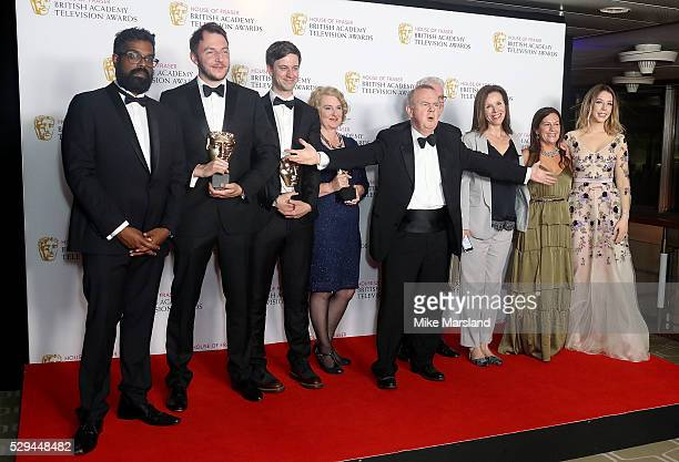 Cast and crew of Have I Got News For You winners of the Best Comedy and Comedy Entertainment Programme award pose in the winners room at the House Of...