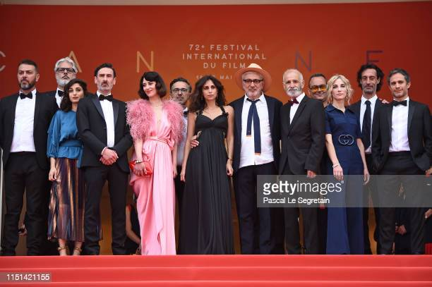 Cast and crew of It Must Be Heaven attend the screening of It Must Be Heaven during the 72nd annual Cannes Film Festival on May 24 2019 in Cannes...