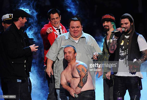 Cast and crew of Jackass perform onstage during the MTV Europe Music Awards 2010 live show at La Caja Magica on November 7 2010 in Madrid Spain