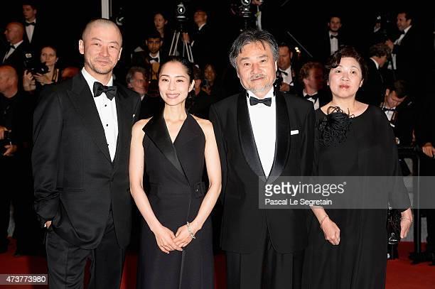 Cast and crew of 'Kishibe No Tabi' actor Tadanobu Asano actress Eri Fukatsu director Kiyoshi Kurosawa and his wife Hiromi Kurosawa attend the...