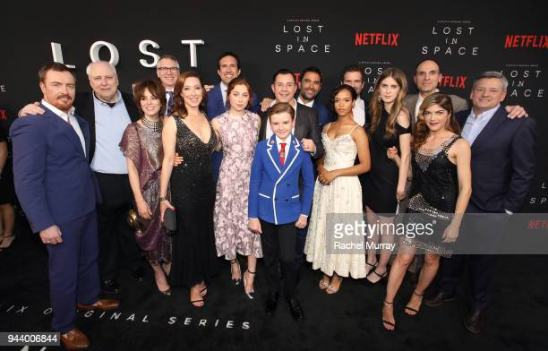 Cast and Crew of Lost In Space attend Netflix's Lost In Space Los Angeles premiere on April 9 2018 in Los Angeles California