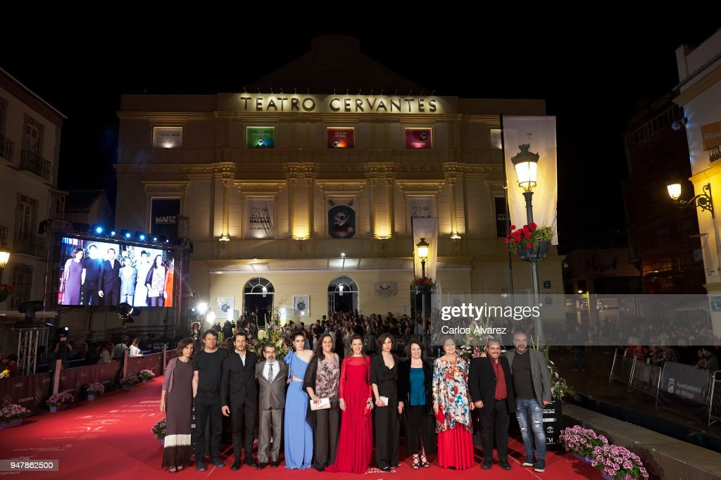 Cast and crew of 'Mi Querida Cofradia' attend 'Las Distancias' premiere during the 21th Malaga Film Festival at the Cervantes Theater on April 17, 2018 in Malaga, Spain.