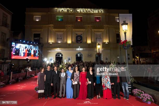 Cast and crew of 'Mi Querida Cofradia' attend 'Las Distancias' premiere during the 21th Malaga Film Festival at the Cervantes Theater on April 17...