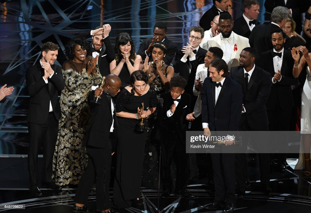 Cast and crew of 'Moonlight' accept the Best Picture award onstage during the 89th Annual Academy Awards at Hollywood & Highland Center on February 26, 2017 in Hollywood, California.