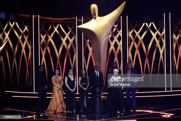 Cast and crew of Mystery Road accept the AACTA Award for Best Drama Series during the 2020 AACTA Awards presented by Foxtel at The Star on November...