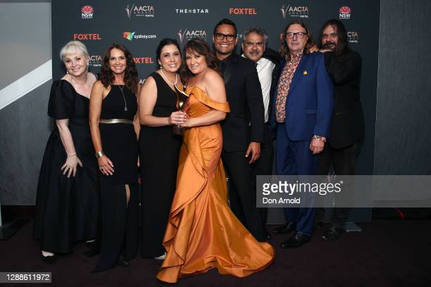 Cast and crew of Mystery Road pose with the AACTA Award for Best Drama Series in the media room during the 2020 AACTA Awards presented by Foxtel at...