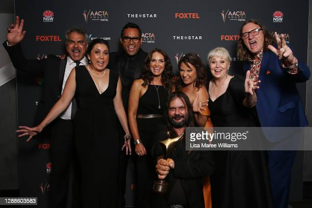 Cast and crew of Mystery Road pose with the AACTA Award for Best Drama Series during the 2020 AACTA Awards presented by Foxtel at The Star on...