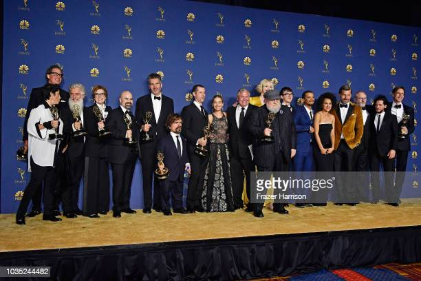 Cast and crew of Outstanding Drama Series winner 'Game of Thrones' pose in the press room during the 70th Emmy Awards at Microsoft Theater on...