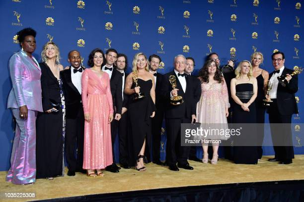 Cast and crew of Outstanding Variety Sketch Series winner Saturday Night Live pose in the press room during the 70th Emmy Awards at Microsoft Theater...