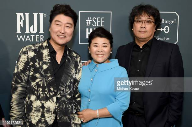 Cast and crew of 'Parasite' attend the 25th annual Critics' Choice Awards at Barker Hangar on January 12 2020 in Santa Monica California