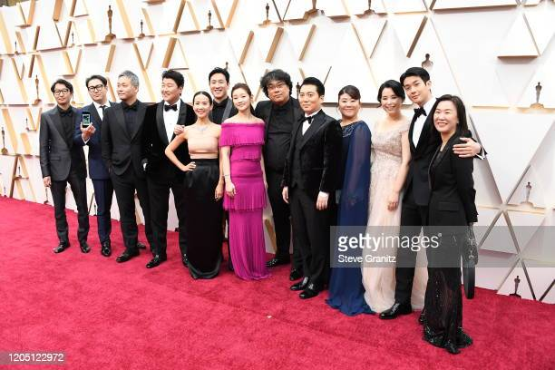 Cast and crew of 'Parasite' attend the 92nd Annual Academy Awards at Hollywood and Highland on February 09 2020 in Hollywood California