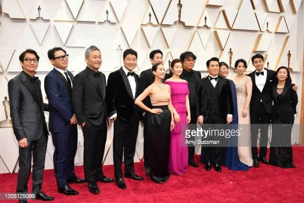 Cast and crew of 'Parasite' including editor Yang Jinmo writer Jin Won Han producer Kwak Sinae production designer Hajun Lee Yangkwon Moon Kangho...