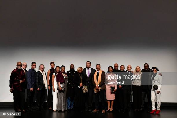 Cast and crew of Revival are seen at the premiere of Harry Lennix's Film Revival a gospel musical based on the Book of John at the Museum of The...