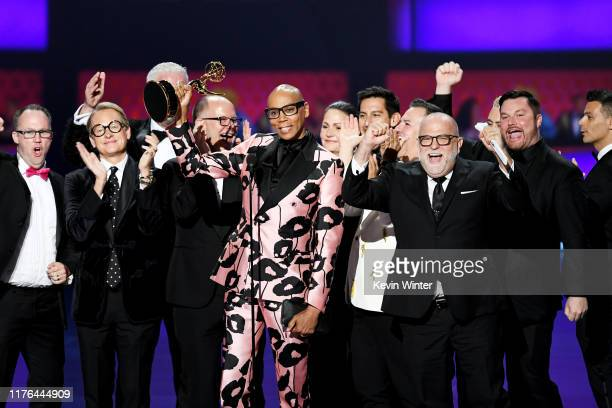 Cast and crew of 'RuPaul's Drag Race' accept the Outstanding Competition Program award onstage during the 71st Emmy Awards at Microsoft Theater on...