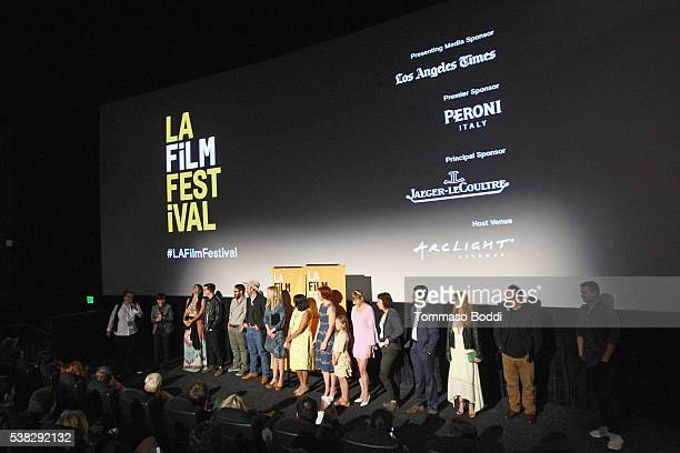 Cast and crew of Sensitivity Training speak onstage at the premiere of 'Sensitivity Training' during the 2016 Los Angeles Film Festival at Arclight...