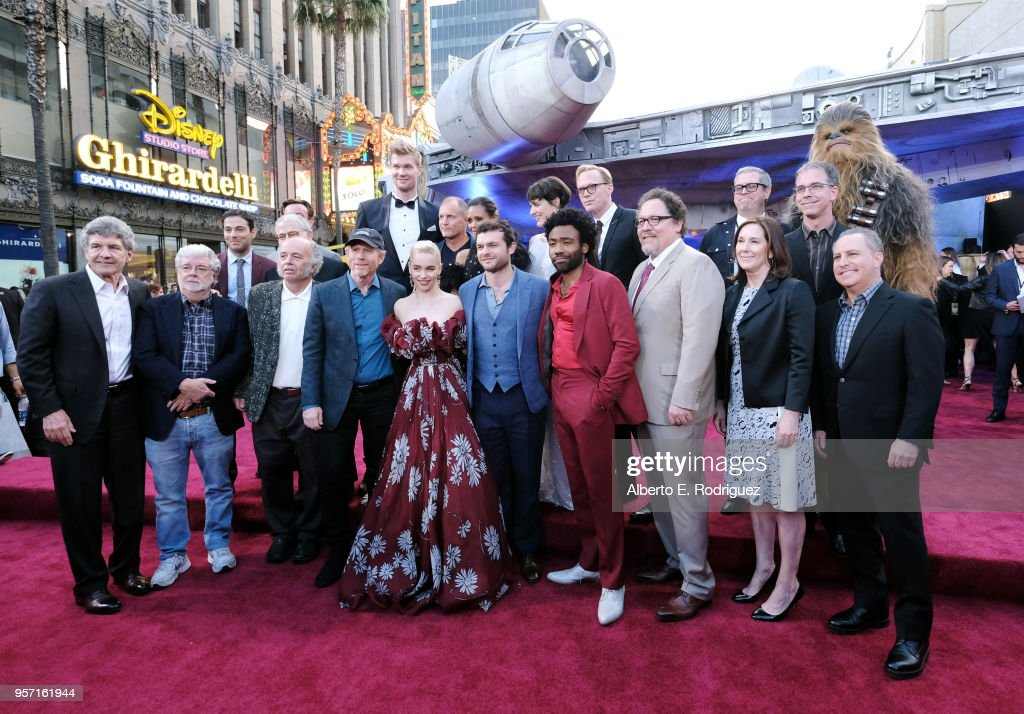 """Cast and crew of 'Solo: A Star Wars Story' attend the world premiere of """"Solo: A Star Wars Story"""" in Hollywood on May 10, 2018."""