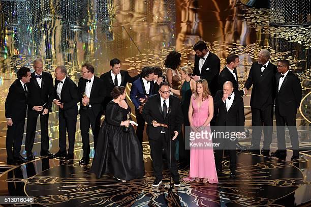 Cast and crew of 'Spotlight' including actors Brian d'Arcy James Michael Keaton writerdirector Tom McCarthy actor Mark Ruffalo producers Nicole...