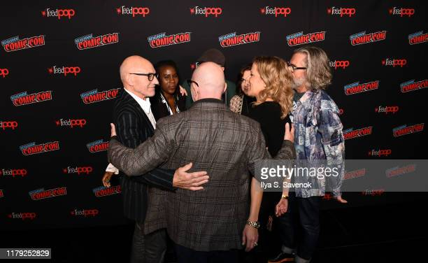 Cast and crew of Star Trek Discovery and Picard embrace during New York Comic Con 2019 Day 3 at the Hulu Theater at Madison Square Garden on October...